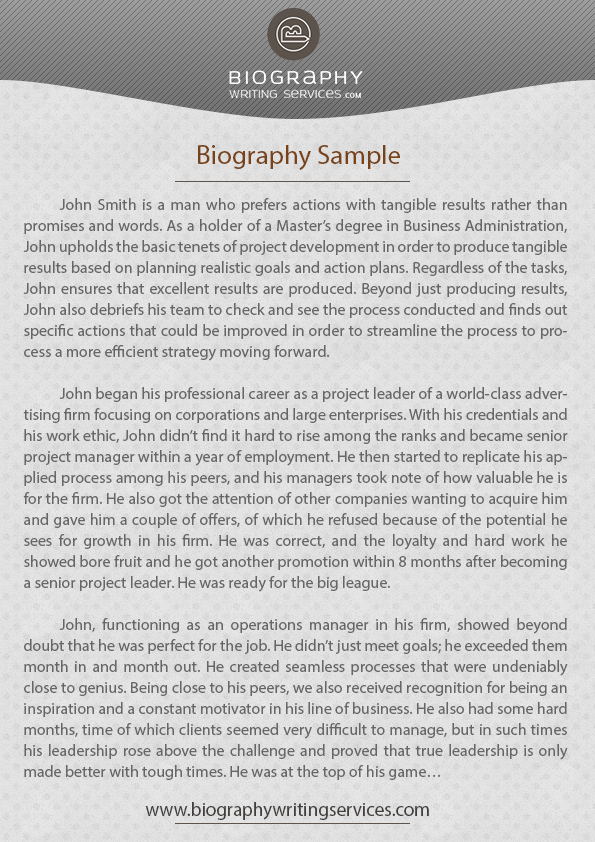 Check Our Biography Writing Example Biography Writing