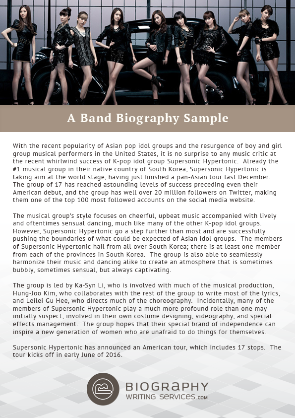 Writing a Band Bio | Biography Writing Services