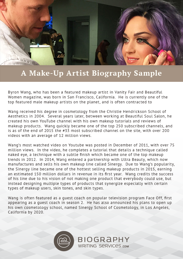 writing a make up artist biography