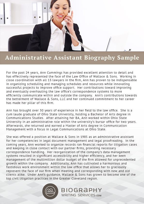 Administrative Assistant Bio Writing  Administrative Assistant
