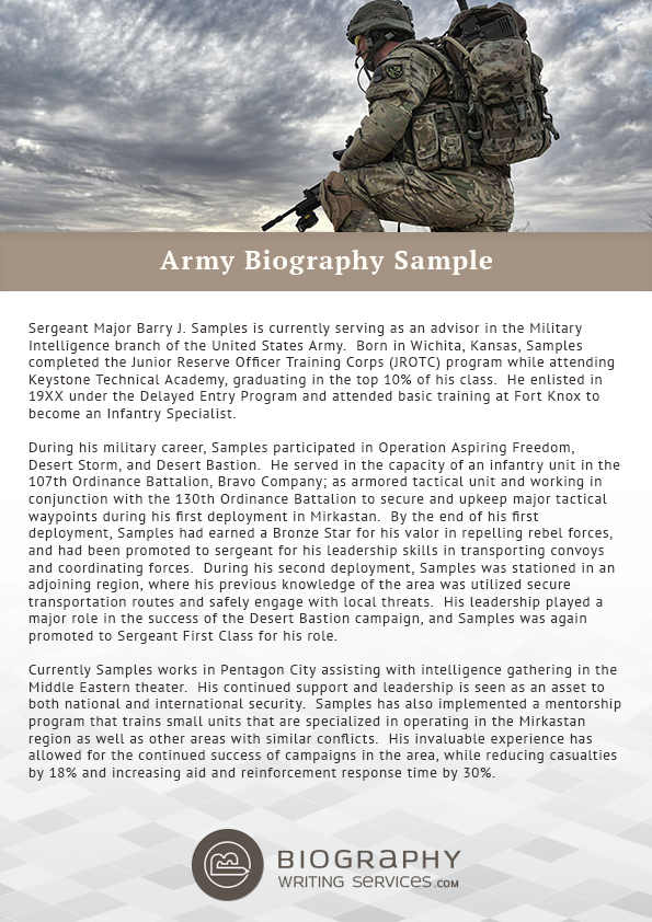 Military bio example writing tips top quality help for Military biography template
