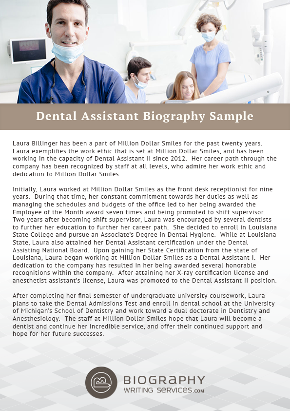top quality dental assistant biography writing help With dentist biography template