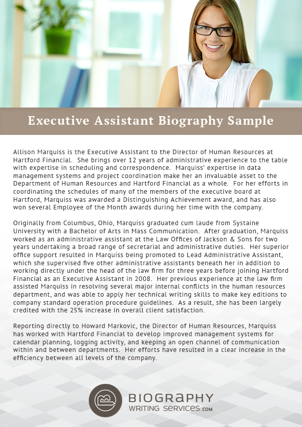 executive assistant biography samples biography writing services