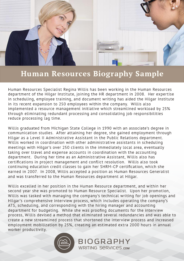 Human resources bio writing service for Employee biography template