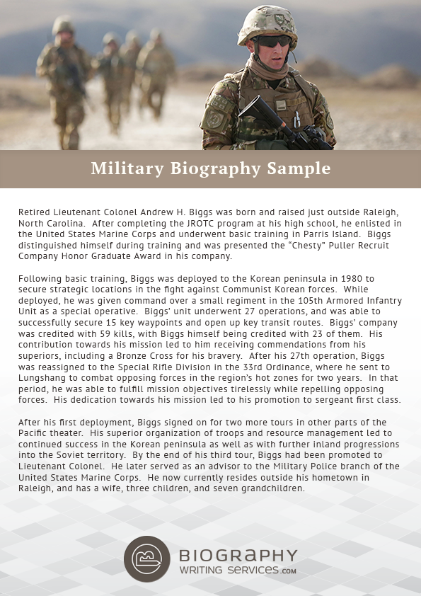 Military biography format writing for Military biography template