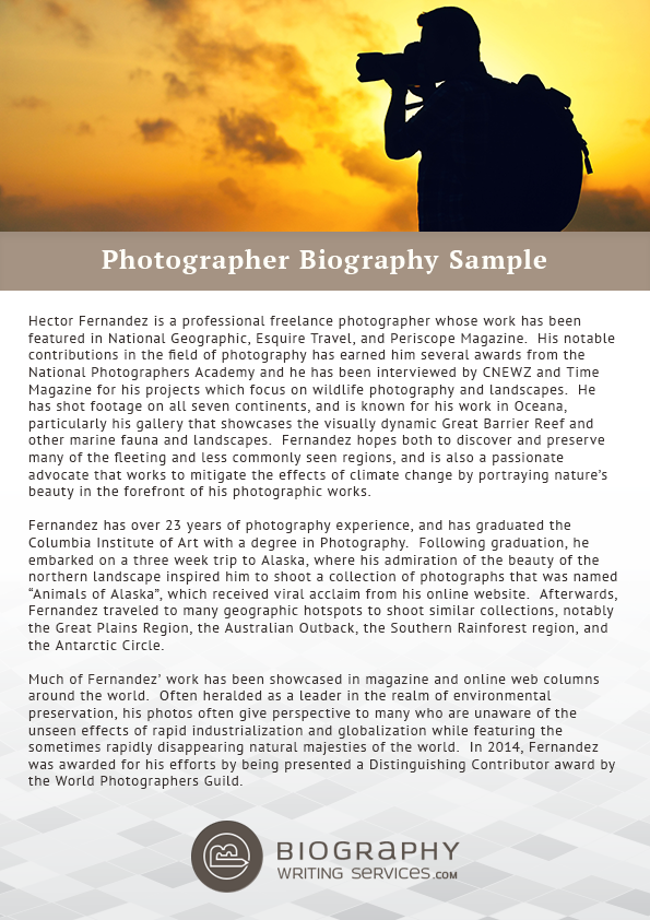 How to create photographer biography for Photography bio template