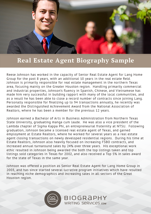 real estate agent biography