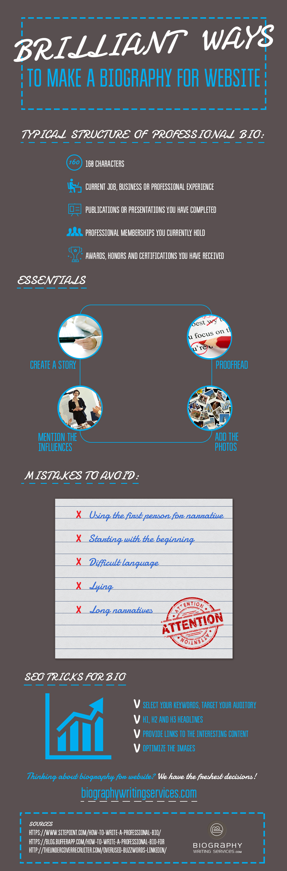 biography for website infographics