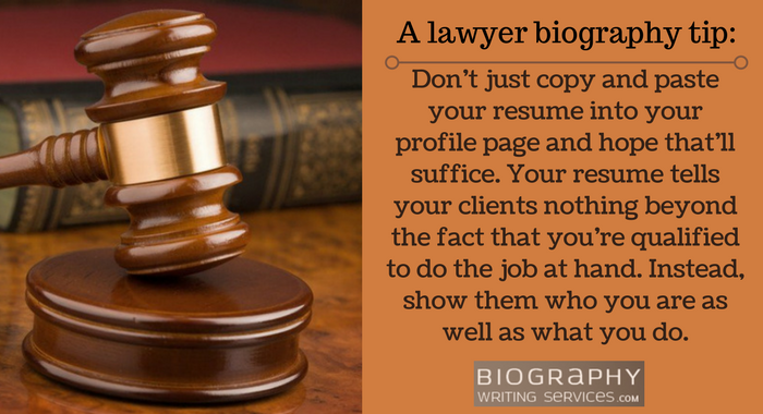 lawyer biography tip