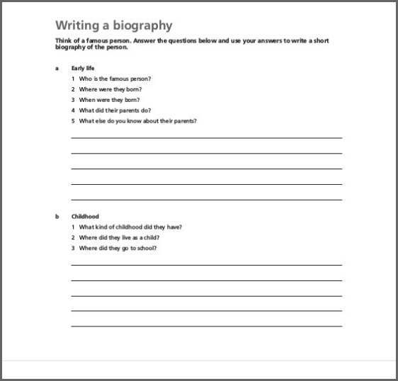 Biography Structure Template