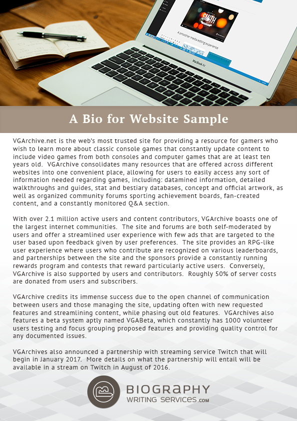 website biography sample