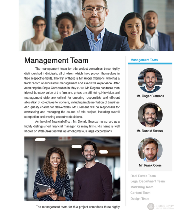 management team bio sample