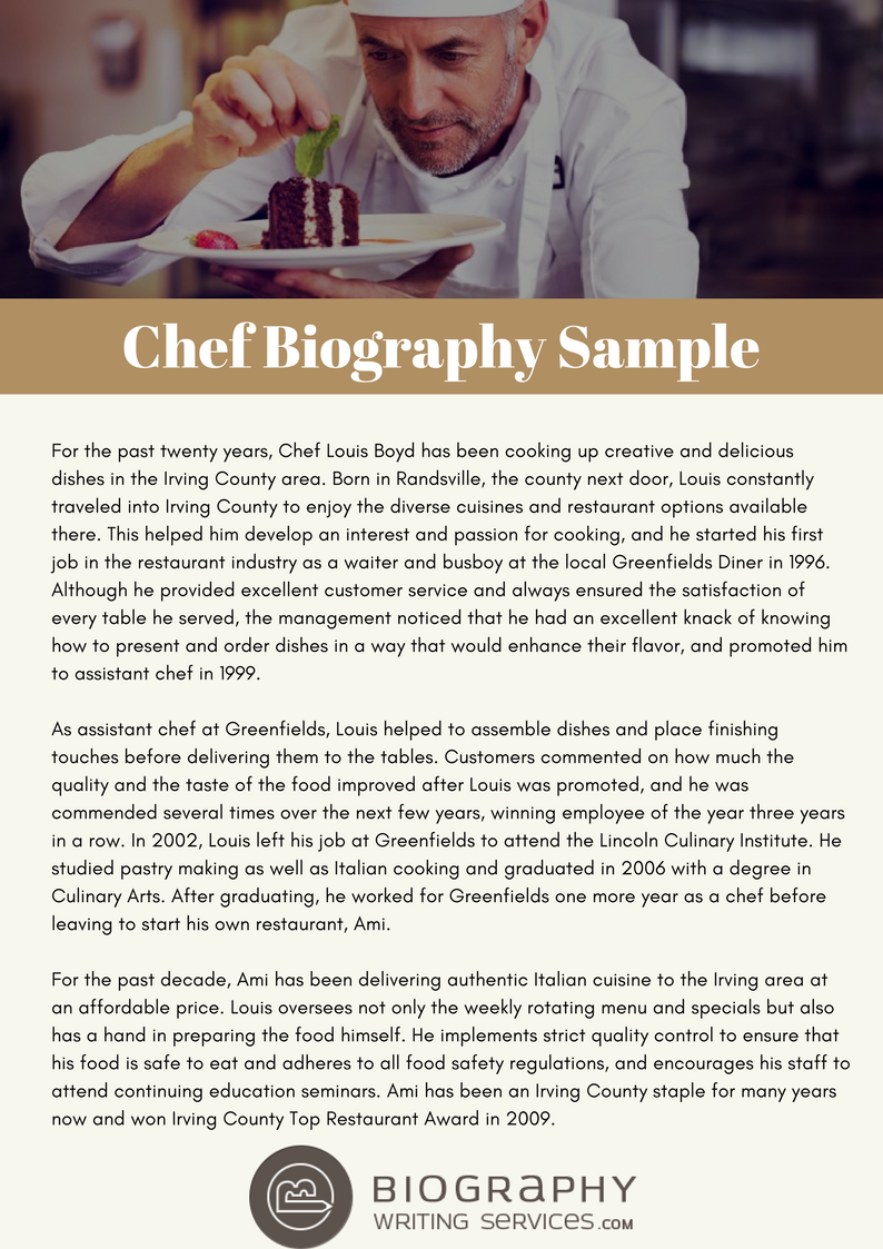 writing an impressive chef biography