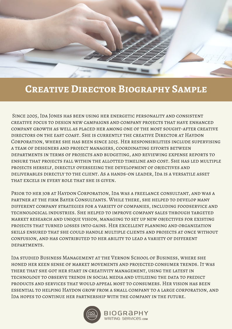 creative director bio sample