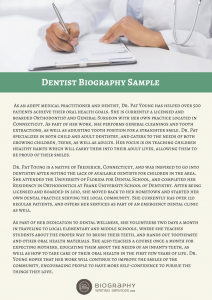 dentist biography sample