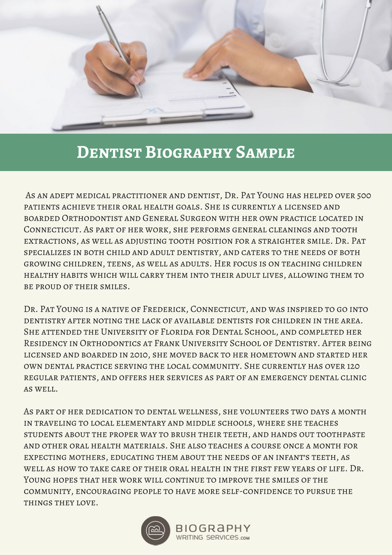 Our Dentist Biography Sample