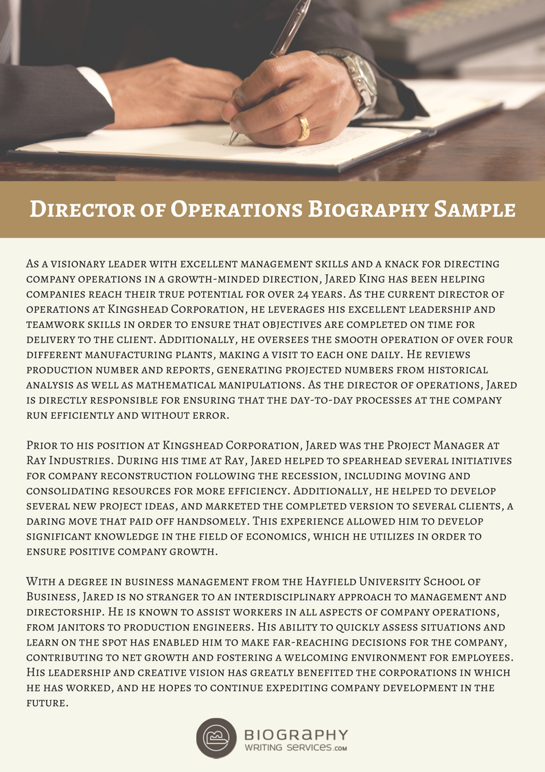director of operations bio sample