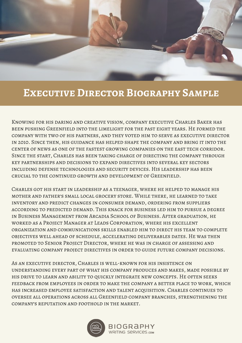 executive director bio sample
