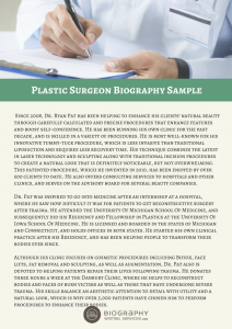 plastic surgeon biography sample
