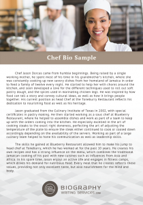 chef biography examples
