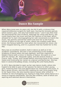 dance bio sample