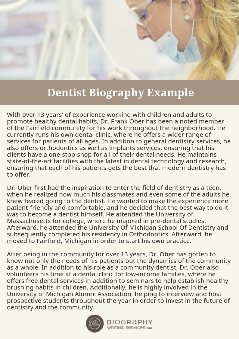 Dentist Biography Writing: Samples, Tips, Professional Help