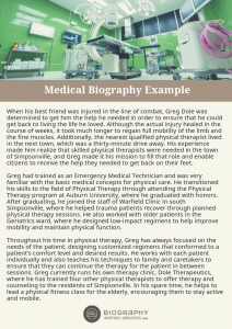 medical biography examples
