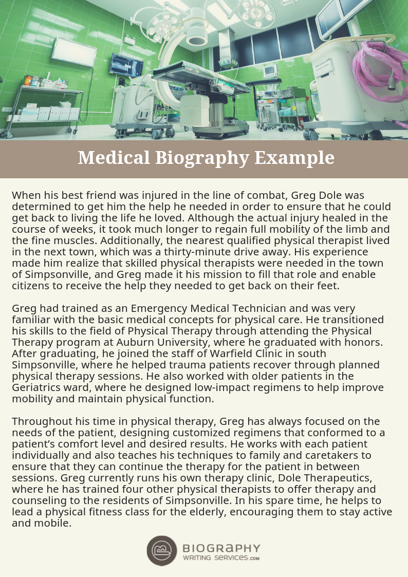 Everything About Physical Therapist Biography Writing