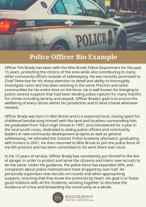 police officer bio examples