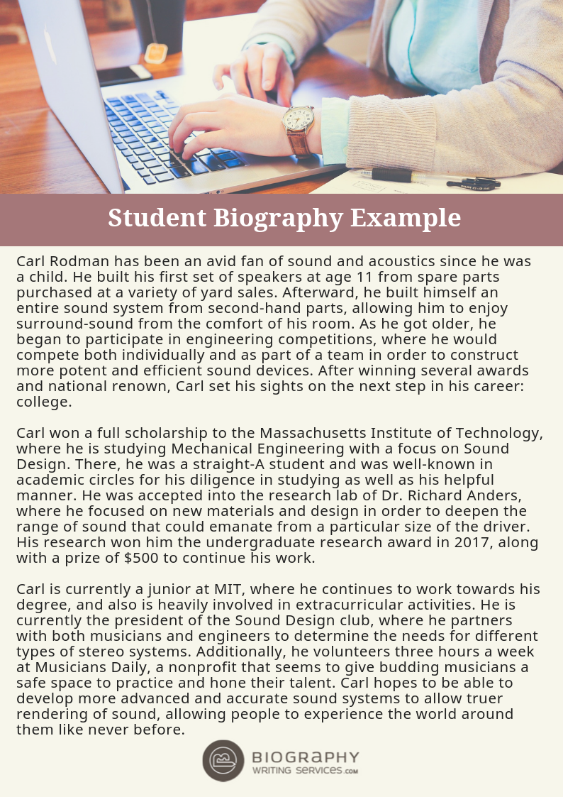 how to write a student biography properly