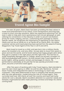 travel agent bio sample
