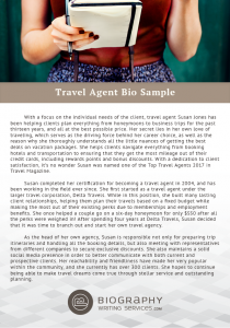 travel agent biography sample