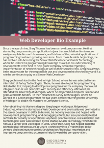 web developer bio example