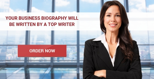 write a business biography