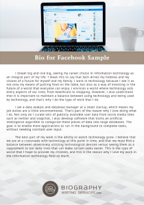 bio for facebook examples