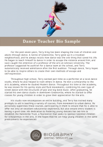 dance teacher bio examples