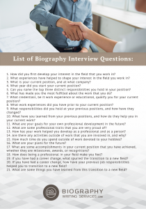 list of biography interview questions