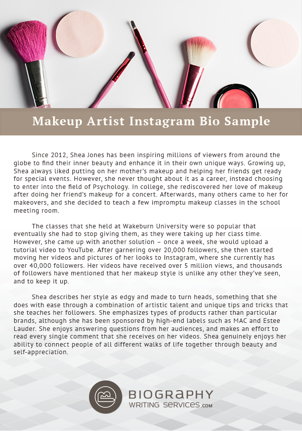 Make-Up Artist Biography Writing: Expert Tips and Samples