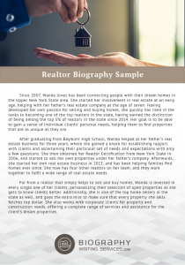realtor biography sample
